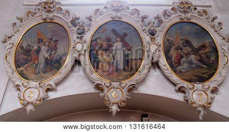 ZIEMETSHAUSEN, GERMANY - JUNE 09: Way of cross, Maria Vesperbild Church in Ziemetshausen, Germany on June 09, 2015.