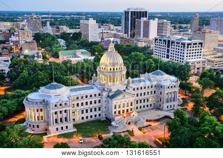 Jackson, Mississippi, USA skyline over the Capitol Building.