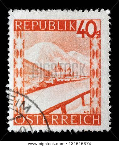 ZAGREB, CROATIA - SEPTEMBER 05: A stamp printed in Austria shows Mariazell is a small city in Austria, series, circa 1947, on September 05, 2014, Zagreb, Croatia