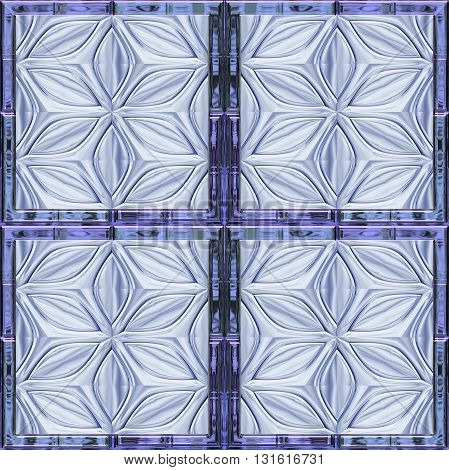 Abstract seamless relief pattern with stylized glass flowers resembling window