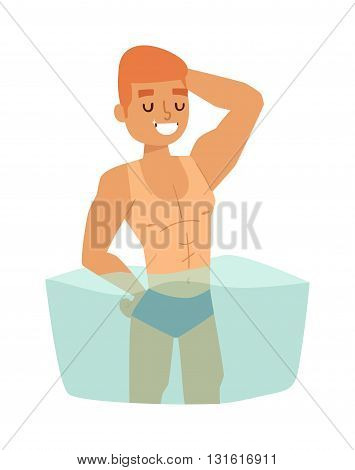 Handsome beach boy and muscular man beach boy on sea beach. Beach boy character and beach boy vector illustration. Beach boy summer boy sea water vacation. Little happy sun coast travel.