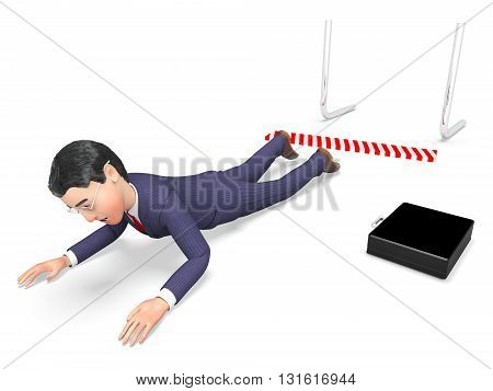 Hurdle Fail Means Lack Of Success And Accident 3D Rendering