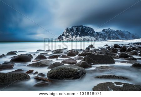 Uttakleiv Beach Storm in Lofoten Island, Norway