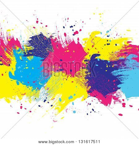Vector white watercolor background. Colorful abstract texture. Design elements. Painterly illustration. Vector watercolor splash.