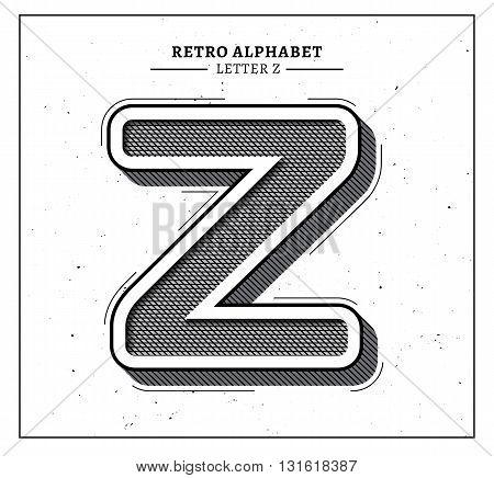 Retro style big 3d letter Z icon