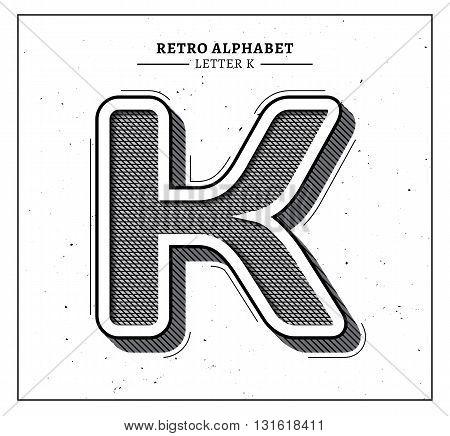Retro style big 3d letter K icon