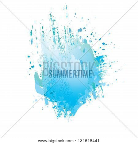 Watercolor splash background. Vector grunge abstract background. Colorful texture. Handmade elements. Vintage background. Sign board. Watercolor blue stamp. Vector summer.