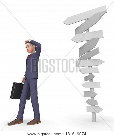 Character Signposts Shows Businessman Executive And Commercial 3D Rendering