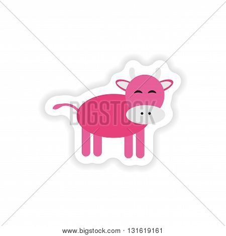 paper sticker on white background  cow cartoon