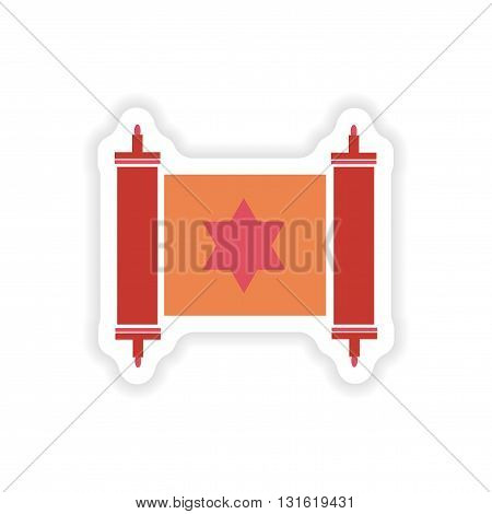 paper sticker on white background  scroll Torah