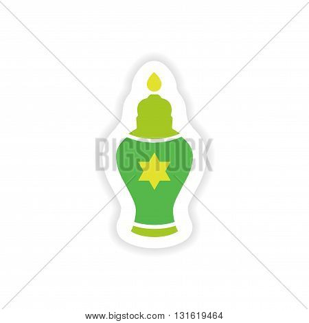 paper sticker on white background  Hanukkah candles