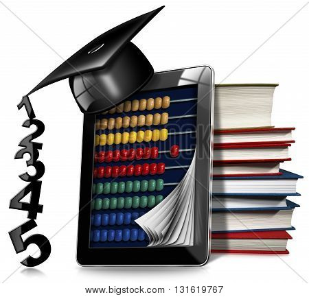 3D illustration of a black tablet computer with a wooden and colorful abacus a stack of books and a graduation hat. Isolated on white background