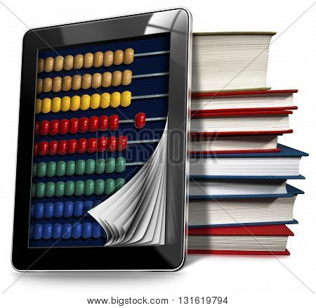 3D illustration of a black tablet computer with a wooden and colorful abacus and a stack of books. Isolated on white background