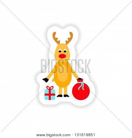 paper sticker on white background  deer gifts