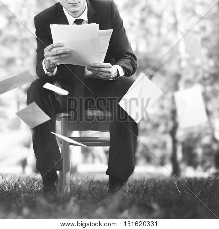 Business Man Document Work Occupation Concept