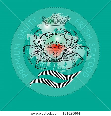 Vector seafood label with silhouette crab and crown on aquamarine background.