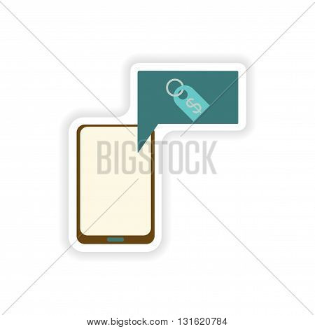 paper sticker on white background  mobile phone money