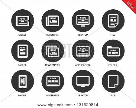 Newspaper vector icons set. Printed media and modern technology concep. Icons for banners and advertising, news on tablet, phone, computer, file and folder. Isolated on white background