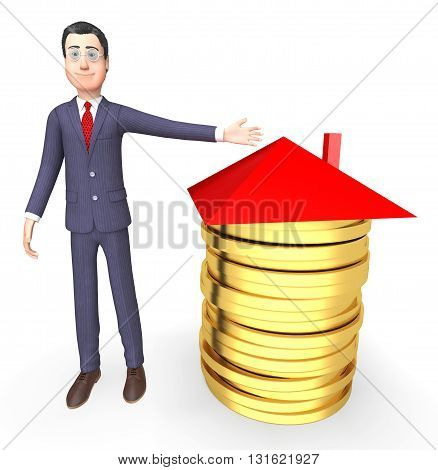 Businessman Money Represents Real Estate And Bank 3D Rendering
