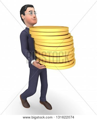 Finance Character Represents Business Person And Trading 3D Rendering