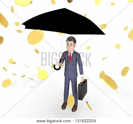 Coins Character Represents Business Person And Sky 3D Rendering