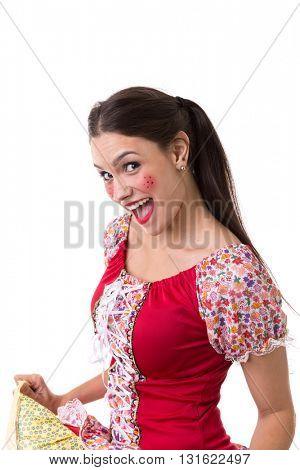 Young brunette girl wearing junina costume