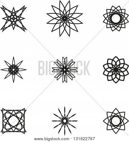 A set of nine black spiral logo on white background