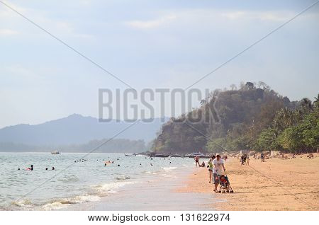 People Are Walking By Ao Nang In Krabi Province Of Thailand
