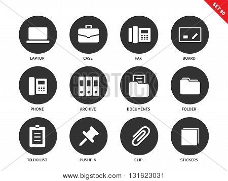 Office vector icons set. Business concept. Office technics and tools, laptop, case, fax, board, phone, folder, archive, pushpin, clip, stickers. Isolated on white background