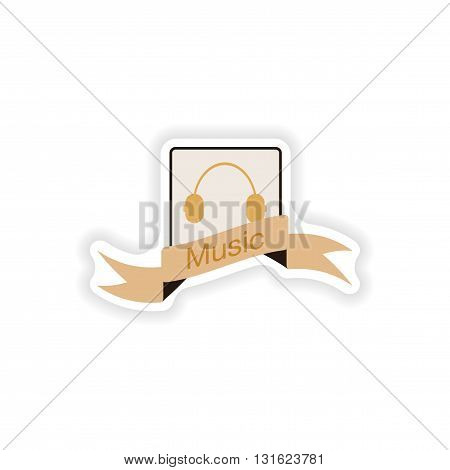 Set paper sticker on white background  mobile phone music