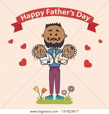 fathers with children baby twins in their arms. Element cards for Father Day. Vector illustration