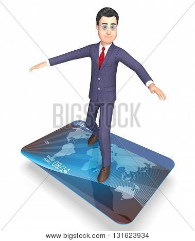 Credit Card Shows Business Person And Banking 3D Rendering