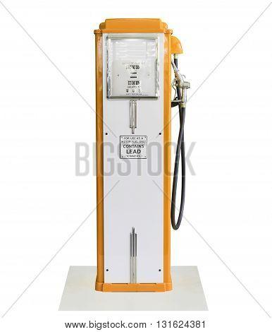 Vintage Orange Fuel Pump On White Background