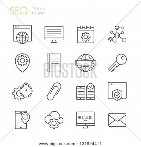 Seo gray line icons set of 16