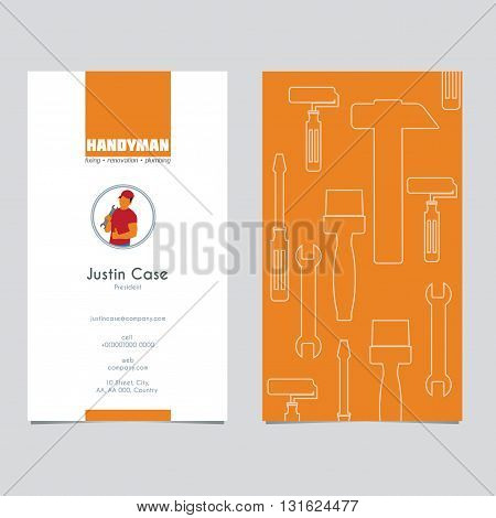 Handyman Business Sign & Business card template. Amenities repair house hold equipment fixing symbols. Vector graphics for working tools plumbing renovation best quality service concept. Sample text. Editable