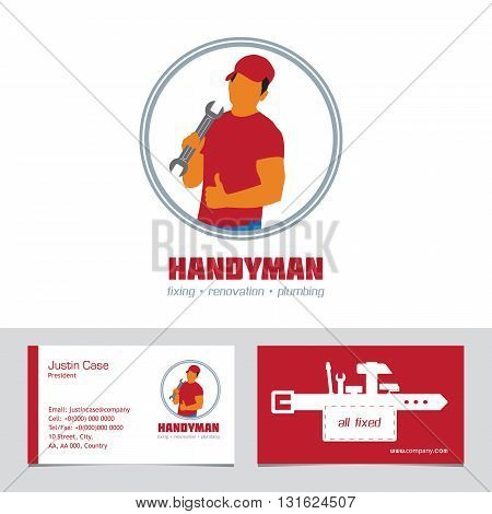 Handyman Business Sign & Business Card vector template. Handyman & Tool Bag illustration. Best quality service concept. Sample text. Editable