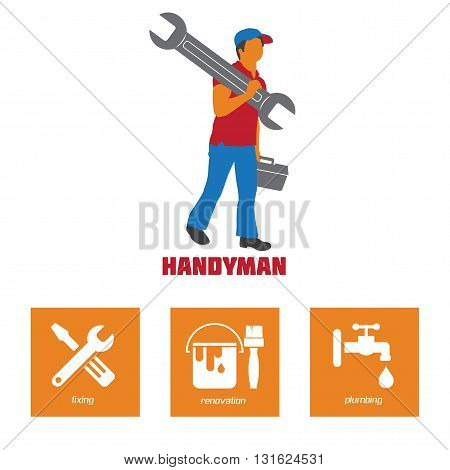 Handyman Business Sign & Vector Icon set. Amenities repair house hold equipment fixing symbol icons. Vector graphics for working tools plumbing renovation best quality service concept. Sample text. Editable