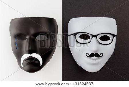 Black Sad And White Happy Masks