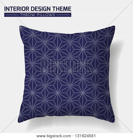Decorative Throw Pillow design template. Original pattern is complete masked. Modern interior design element. Creative Sofa Toss Pillow. Inspired by traditional Japanese textiles. Vector design is layered editable