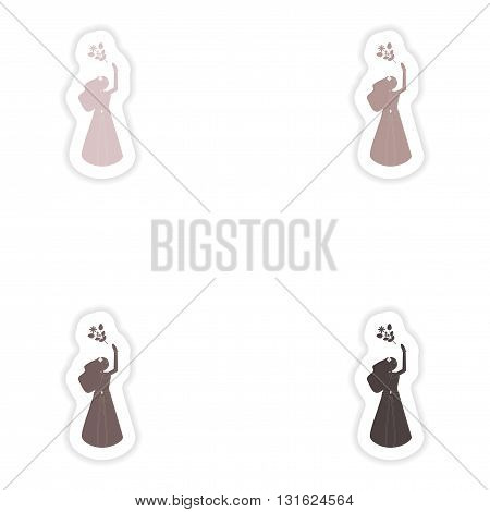 Set of paper stickers on white background   bride throws bouquet