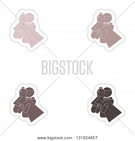 Set of paper stickers on white background  bride and groom