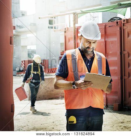 Construction Worker Planning Constructor Developer Concept