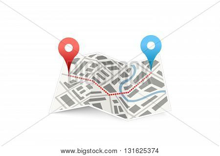 Folded map icon with track between GPS points isolated on white