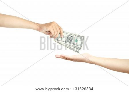Pay money isolated on white color background