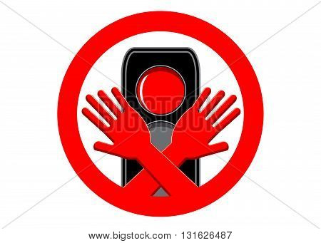 sign danger. Red light of the traffic light and two hands in a red circle