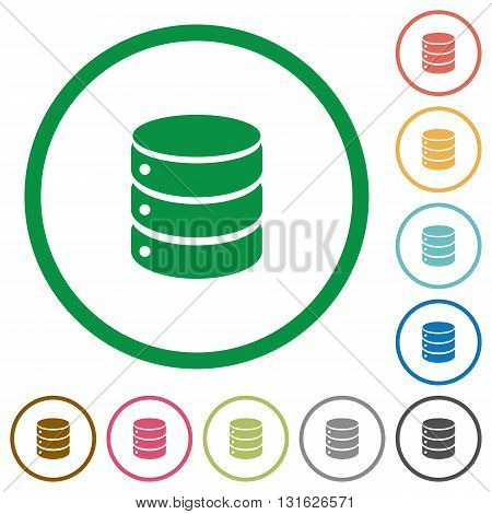 Set of database color round outlined flat icons on white background