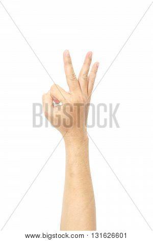 Okay hand symbol isolated on white background