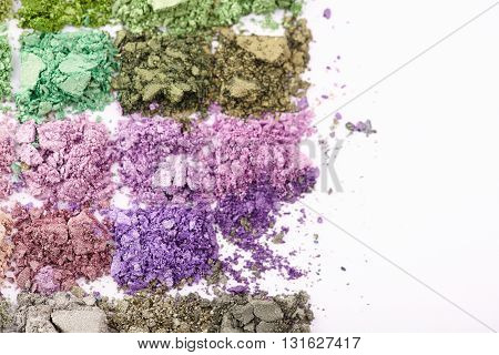 Makeup eyeshadows set in different colors close up