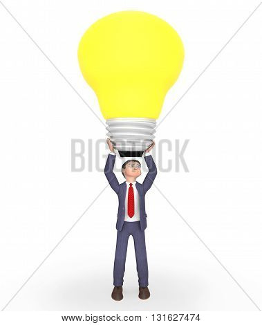 Businessman Idea Represents Light Bulb And Character 3D Rendering