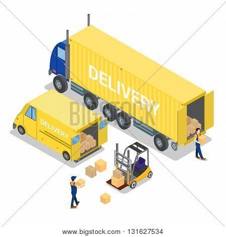 Isometric Warehouse Cargo Industry. Worker on Forklift Vector Illustration
